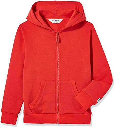 (Kid Nation Kids' Soft Brushed Fleece Zip-Up Hooded Sweatshirt Hoodie for Boys or Girls M Red 01)