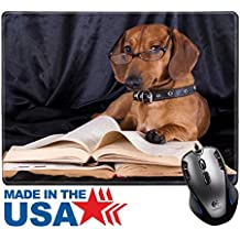"""MSD Natural Rubber Mouse Pad/Mat with Stitched Edges 9.8"""" x 7.9"""" IMAGE ID: 10142599 puppy purebred dachshund"""