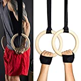 Exblue Wood Gymnastic Rings with Adjustable Straps and Sports Wristbands Gym Rings for Gym, Crossfit, Full Body Strength and Muscular Bodyweight Training