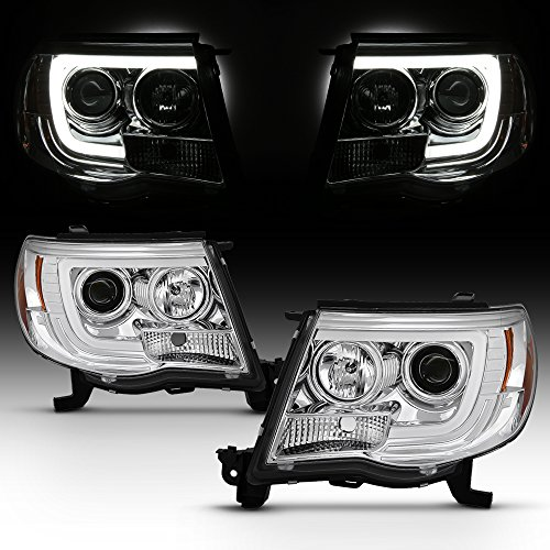 (For 2005-2011 Toyota Tacoma DRL LED Light Tube Chrome Projector Headlight Assembly L+R )