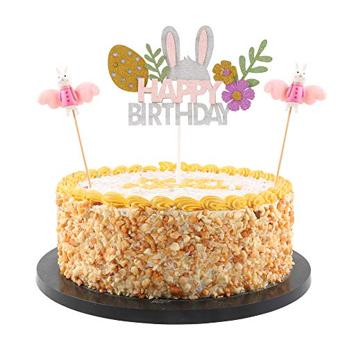 QIYNAO 2pc Rabbit Cake Topper and Happy Birthday Cake Topper,Party Decoration Supplies
