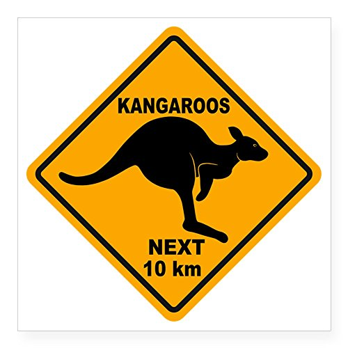 CafePress - Kangaroo Sign Next Km A2 Co Square Sticker 3