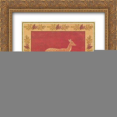 Folk Fawn 2X Matted 18x18 Gold Ornate Framed Art Print by Warren Kimble