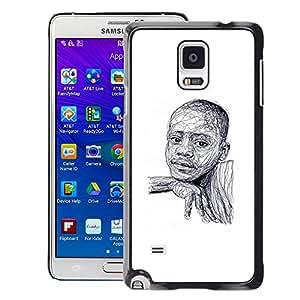 A-type Arte & diseño plástico duro Fundas Cover Cubre Hard Case Cover para Samsung Galaxy Note 4 (Black Boy African American White Sketch)