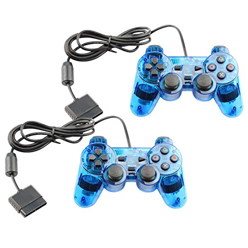Controller for PS2 Playstation 2 Wired (Blue) - 2 Pack