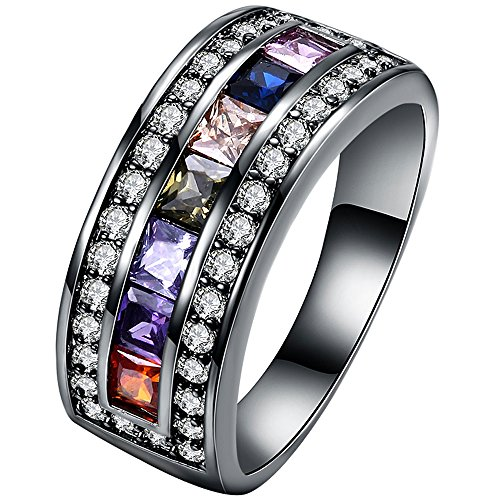 Gold Multi Color Gemstone Ring (XAHH Women Black Gold Square Cushion Cut Multicolor Gemstone CZ Promise Ring Anniversary Wedding Band for Lady Girl Size 9)
