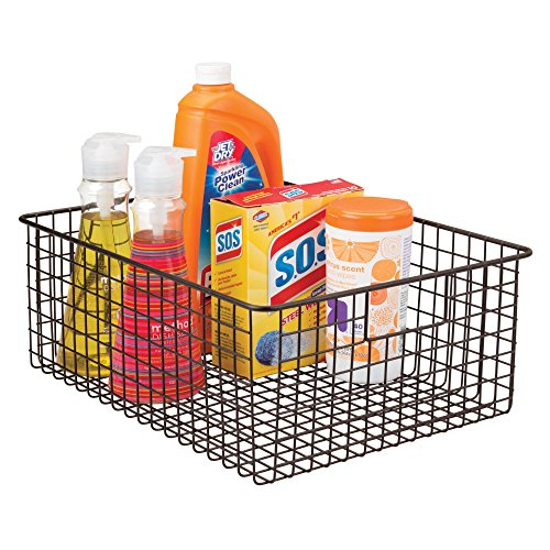 mDesign Wire Organizing Storage Basket with Built-In Handles - 16'' x 12'' x 6'', Bronze by mDesign (Image #2)