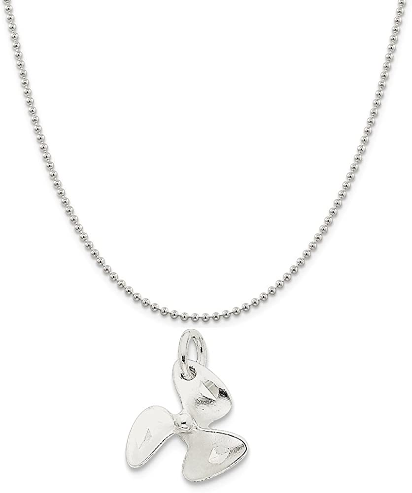 3D Charm Sterling Silver Propeller Style Airplane Charm Pendant