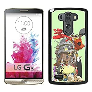 Beautiful Designed Cover Case For LG G3 With Miyazaki Characters Black Phone Case