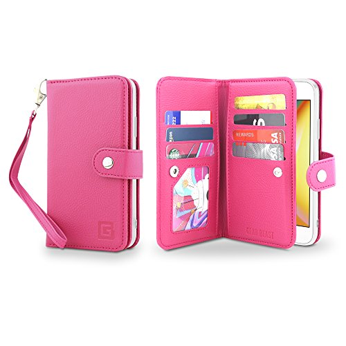 Gear Beast Flip Cover Dual Folio Case fits iPhone 8/7 Wallet Case Slim Protective PU Leather Case 7 Slot Card Holder Including ID Holder 2 Inner Pockets Stand Feature Wristlet ()