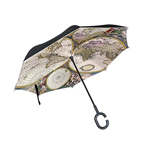 Vintage Old World Map Double Layer Windproof, Waterproof Auto Open Reverse Folding Upside Down Car Umbrellas with C Shape Handle (Reverse Hanging Lamp)