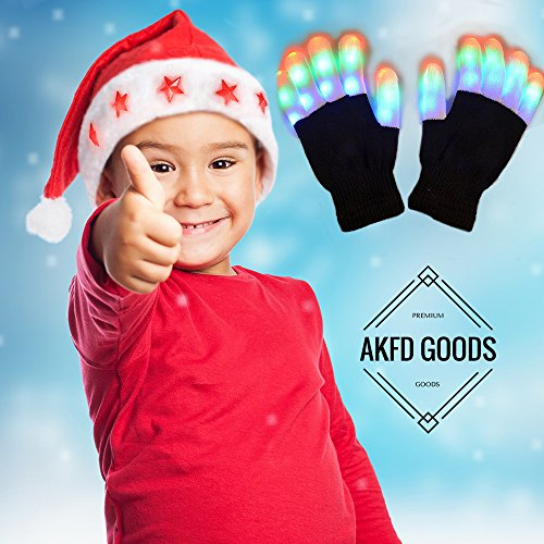 AKFD GOODS Set of Light-Up Gloves and LED Santa Hat Best for Christmas Gifts for Adults and Kids Girls Boys Finger Lights Rave Cool Neon Glow Accessories for Party Laser Great Dress Up Toys