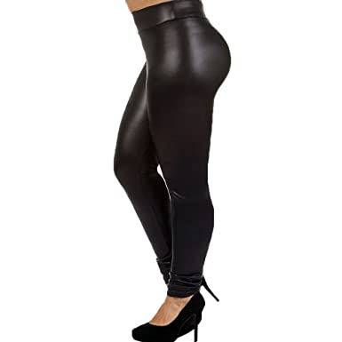 2afb83f2d247b 7th Element Plus Size Faux Leather Leggings Lightweight High Waisted for  Womens Girls (Black,
