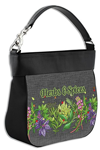 Herbs amp; Front Personalized amp; Back w Leather Spices Genuine Trim Hobo Purse xFpdUrqx8