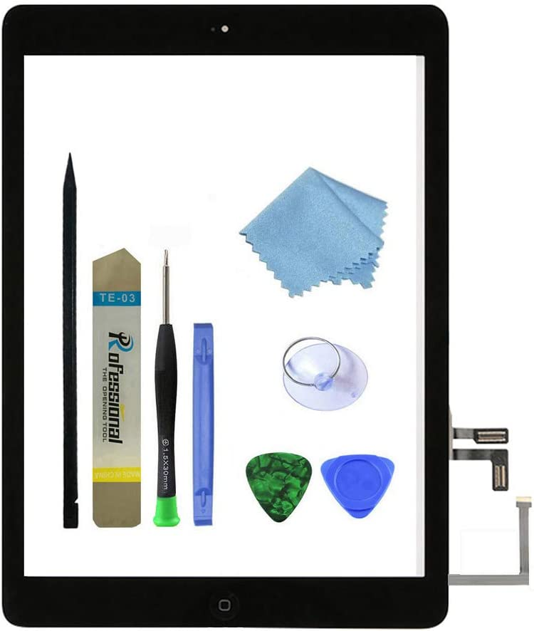 Zentop Black IPad Air 1st Generation Touch Screen Digitizer Glass Replacement Modle A1474 A1475 A1476 with Home Button,Camera Holder,Preinstalled Adhesive,Tool Kit.