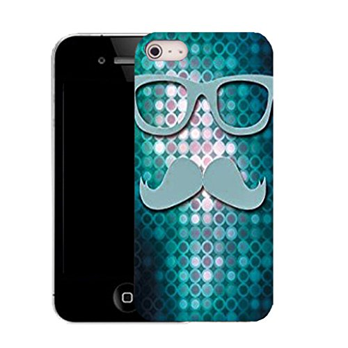 Mobile Case Mate IPhone 4s clip on Silicone Coque couverture case cover Pare-chocs + STYLET - disco moustace pattern (SILICON)