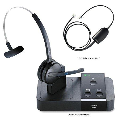 Jabra PRO 9450 Mono Midi-Boom Wireless Headset with 14201-17 Polycom HHC Cable SmartCord, Bundle for Polycom Soundpoint IP Phones
