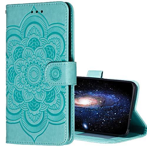 Compatible for Nokia 3.1 Case,Nokia 3.1 Wallet Case,Nokia 2V PU Leather Case,Foral Flower Mandala Design Cash Credit Card Slots Holder Purse Carrying Folio Flip Cover Case for Nokia 3.1,Teal Mint