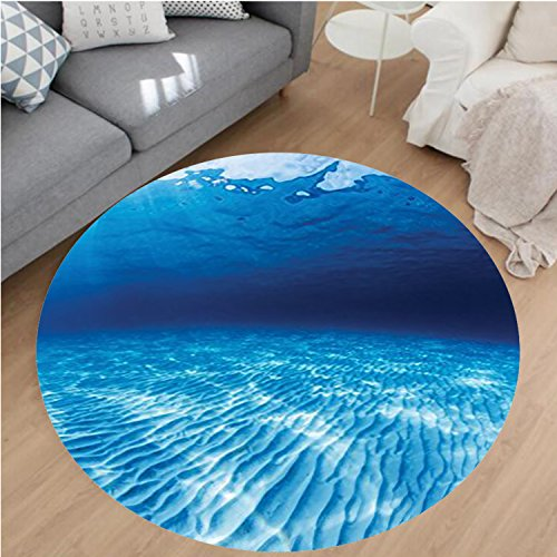 Nalahome Modern Flannel Microfiber Non-Slip Machine Washable Round Area Rug-ater Shot of the Curled Sandy Bottom in Andaman Sea Thailand Picture Navy Blue Aqua White area rugs Home Decor-Round 75