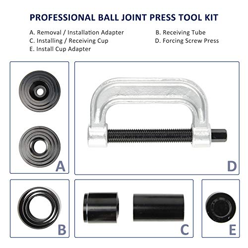 OrionMotorTech Heavy Duty Ball Joint Press & U Joint Removal Tool Kit with 4wd Adapters, for Most 2WD and 4WD Cars and Light Trucks (BK) by OrionMotorTech (Image #2)