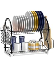 Dish Drying Rack, Veckle 2 Tier Dish Rack Dish Drainer Utensil Holder, Cutting Board Holder with Removable Drain Board for Kitchen Countertop