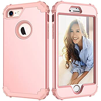 LONTECT Hybrid Heavy Duty Shockproof Full-Body Protective Case with Dual Layer Hard PC+ Soft Silicone Impact Protection for Apple iPhone 7, New Rose Gold