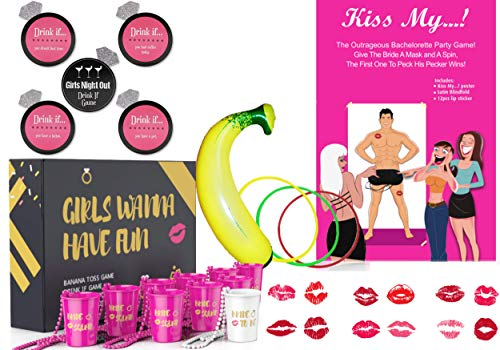 Bachelorette Party Decorations Games | Pack of 56 | 10 Shot necklace Cups| 30 Drink If Drinking Card Games | 1 Banana Ring Toss | Kiss Poster Man | Naughty & Hen Girls Night Fun bridal shower Party]()