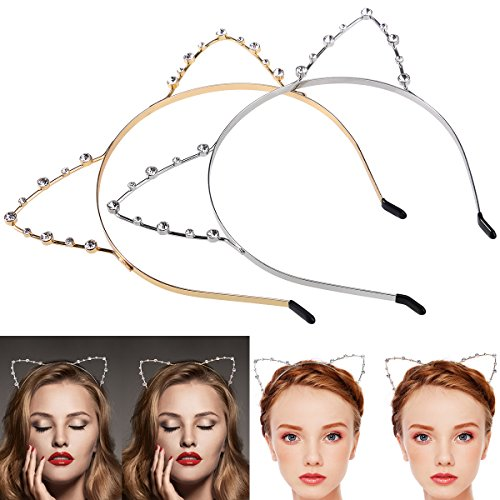 Kittens Cute In Costumes (ETEREAUTY Crystal Cat Ears Headband for Christmas Party Holiday Costume 2 Pieces)