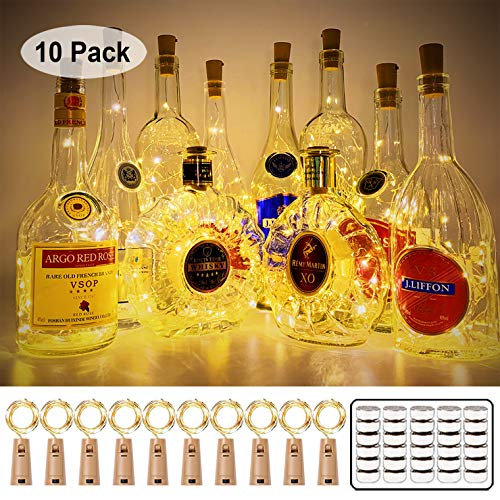 MUMUXI 10 Pack 20 LED Wine Bottle Lights with Cork, 3.3ft Silver Wire Cork Lights Battery Operated Fairy Mini String Lights For Liquor Bottles Crafts Party Wedding Halloween Christmas Decor,Warm White (Christmas Lights 2019 Cork)