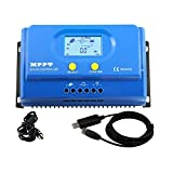 PowMr 50amp MPPT Solar Charge Controller 12V 650W 24V 1300W Fit for Agm Sealed Flooded Lithium Solar Charge for Car RV Camp Weatherproof Backlight LCD Display and Real Time Control by PC Software(50A)