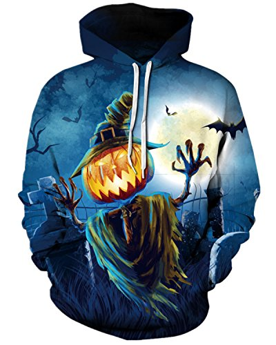 Pattrily Unisex Realistic 3D Print Halloween Pullover Outdoor Hooded Sweatshirt,S/M,Pumpkin