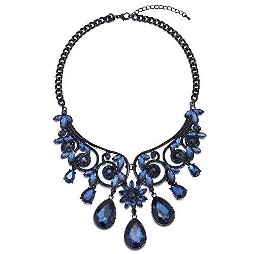 Floral Victorian Pendant - iMECTALII Victorian Nostalgic Blue Crystal Cluster Teardrop Floral Chandelier Pendant Necklace & Earrings