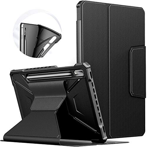 INFILAND Galaxy Tab S7 Case, Multiple Angles Protective Case Cover Compatible with Samsung Galaxy Tab S7 11-inch SM-T870/T875/T876 2020 Release Tablet [Auto Wake/Sleep], Black