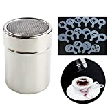 Wady Chocolate Shaker Duster Coffee Flour Sifter Stainless Steel Salt Dispensers with 16pcs Cappuccino Coffee Stencils