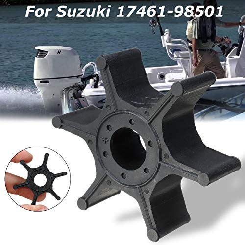 Ignar Boat Engine 17461-98501 Water Pump Impeller for Suzuki 2-8HP Outboard Engines Replacement Diameter 41mm Black Rubber 6 Blades Accessories