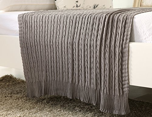 100% All Cotton Knit Throw for Sofa Classic Cable Pattern, 70x78 Inches, Lightweight Ideal for All Year Round Use, Grey (Blanket Antique Wool)