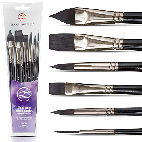 Watercolor Paint Brushes - Smart 6 pc Black Tulip Short-Handle Watercolor Travel-Set for Consistent Flow - Gouache, Watercolors, Fluid Acrylics, Inks - Synthetic Squirrel Hair, Vegan, by ZenART