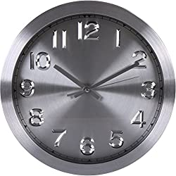 Large Decorative Wall Clock - Dark - Universal Non-Ticking 12-inches Wall Clock - by Utopia Home (Silver)