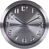 Utopia Home Large Decorative Wall Clock - Dark - Universal Non-Ticking 12-inches Wall Clock - by (Silver)