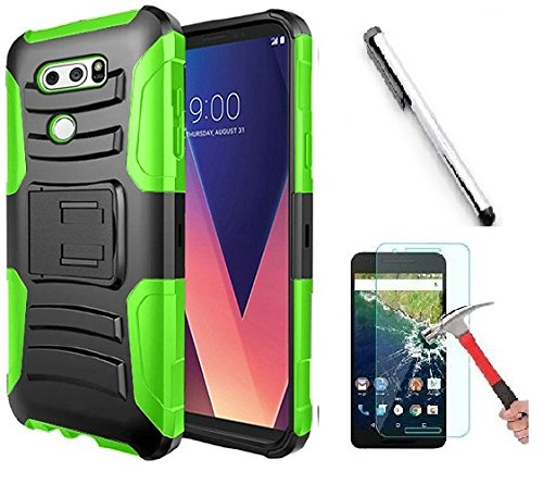 Faceplate Blue Clip Belt (Luckiefind Compatible With LG V30 / LG V30 Plus/LG V30S ThinQ/LG V35 / LG V35 ThinQ, Hybrid Armor Stand with Holster and Locking Belt Clip (Holster Green))