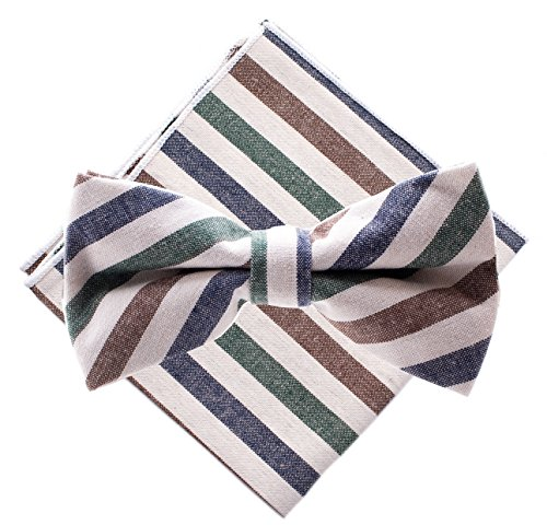 Bowtie & Pocket Square - Stripes - Brown, Blue, Green (Pink And White Polka Dot Bow Tie)