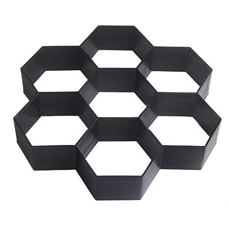 OUNONA Plastic DIY Path Maker Shape Hexagon Manual Paving Formas de ladrillo de cemento para decoración