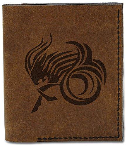 04 Handmade Tattoo b Wallet Leather Style Capricorn Zodiac Men's MHLT Genuine Natural Tattoo qx0Ptnz7w
