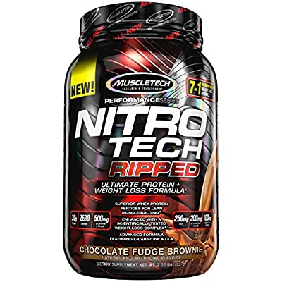 MuscleTech Nitro Tech Ripped Ultra Clean Whey Protein Isolate Powder + Weight Loss Formula, Low Sugar, Low Carb, Chocolate Fudge Brownie, 2 Pounds