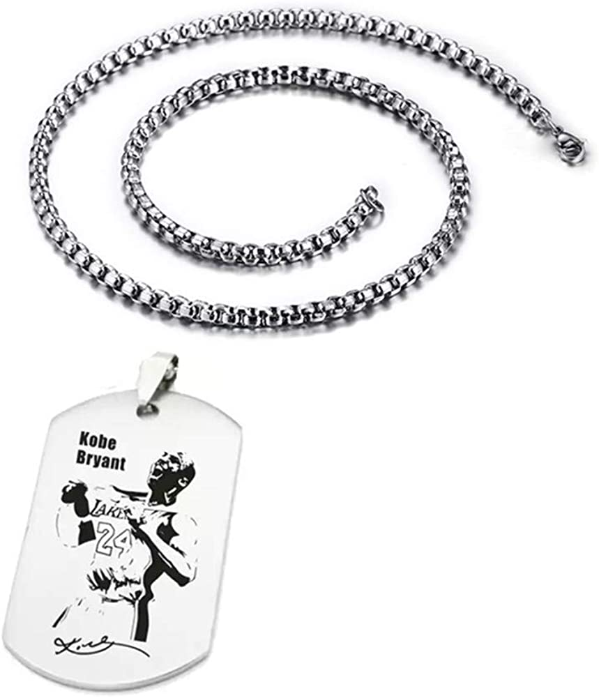 XCFS Stainless Steel Basketball Star Memorial Souvenir ko-be br-yant Army Tag Charm Pendant Necklace