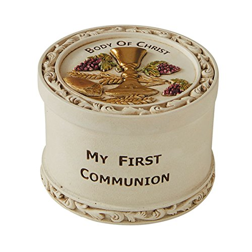 My First Communion Body of Christ Resin Rosary Box, 2 5/8 Inch