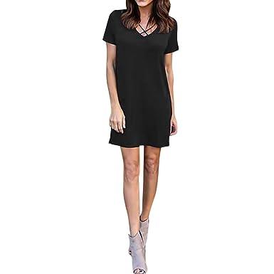 95a01975981e Leisun Fashion Casual Womens Short Cotton Sleeve Solid V Neck Mini Dress  Elegant Ladies Loose Long