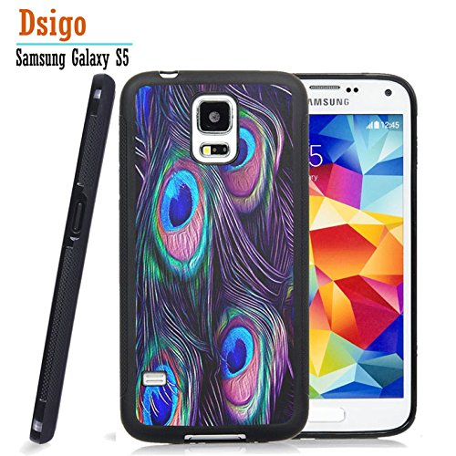 Galaxy S5 Case, Samsung S5 Black Case, Dsigo TPU Black Full Cover Protective Case for New Samsung Galaxy S5 - Beautiful peacock (Pink Halo Pattern)