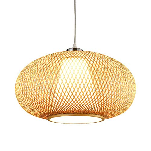 CGJDZMD Bamboo Restaurant Decor Droplight Pendant Lamp Light Antique Loft Wicker Rattan Chandelier Fixture Chain Adjustable E27 1-Light Ceiling Hanging Lantern(15.75in/40cm) ()
