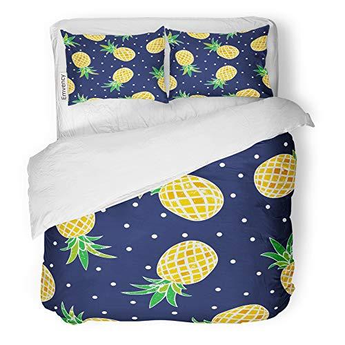 Emvency Decor Duvet Cover Set King Size Blue Summer of Pineapple Tropical Baby Cartoon Cute Dark Designs Fruit 3 Piece Brushed Microfiber Fabric Print Bedding Set Cover